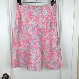 Ann Taylor Petites | Pink Paisley Silk Skirt